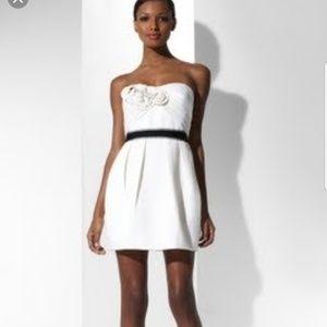 BCBGMAXAZRIA Metallic Jacquard Strapless Dress